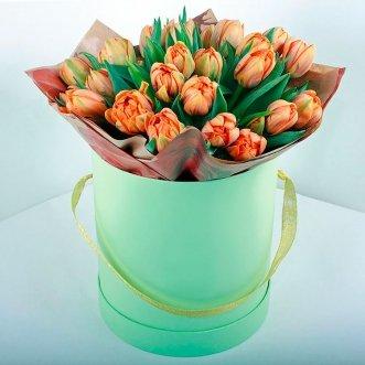 25 оранжевых тюльпанов в коробке